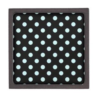 Polka Dots Large - Pale Blue on Black Premium Trinket Box