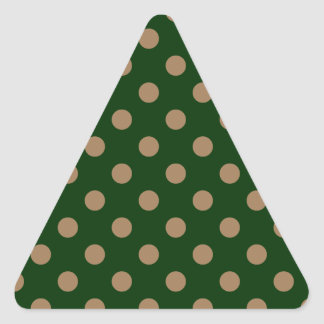 Polka Dots Large - Pale Brown on Dark Green Triangle Sticker