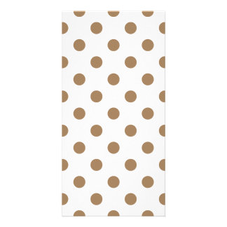 Polka Dots Large - Pale Brown on White Photo Card