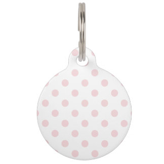 Polka Dots Large - Pale Pink on White Pet Name Tag
