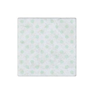 Polka Dots Large - Pastel Green on White Stone Magnet