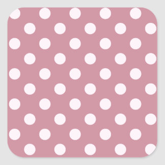 Polka Dots Large - Pink Lace on Puce Square Sticker