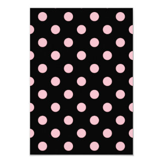 Polka Dots Large - Pink on Black 3.5x5 Paper Invitation Card