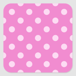 Polka Dots Large - Pink on Dark Pink Square Stickers