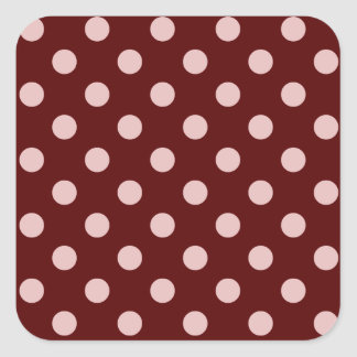 Polka Dots Large - Pink on Dark Red Square Sticker