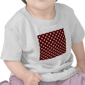 Polka Dots Large - Pink on Dark Red T-shirt