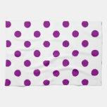 Polka Dots Large - Purple on White Kitchen Towel