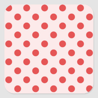 Polka Dots Large - Red on Pink Stickers
