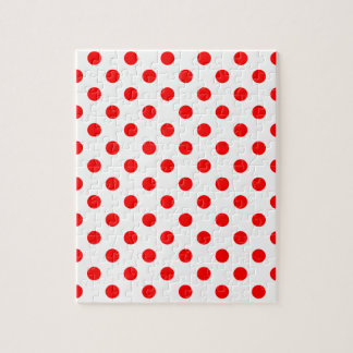 Polka Dots Large - Red on White Jigsaw Puzzle