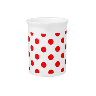 Polka Dots Large - Red on White Beverage Pitchers
