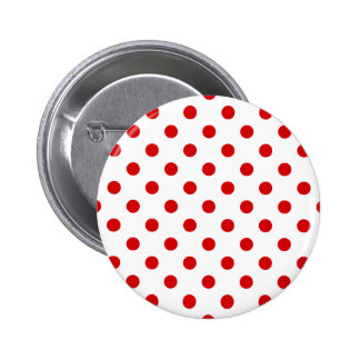 Polka Dots Large - Rosso Corsa on White 2 Inch Round Button