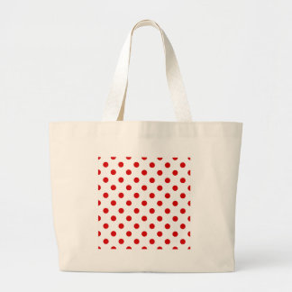Polka Dots Large - Rosso Corsa on White Large Tote Bag