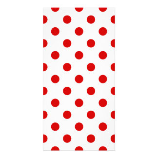 Polka Dots Large - Rosso Corsa on White Photo Card