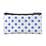 Polka Dots Large - Royal Blue on White Cosmetic Bags