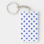 Polka Dots Large - Royal Blue on White Double-Sided Rectangular Acrylic Keychain