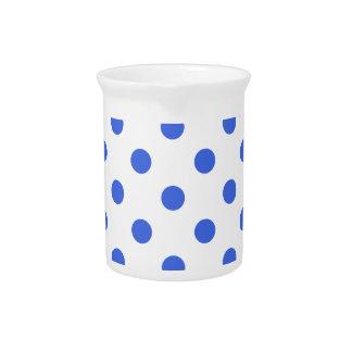 Polka Dots Large - Royal Blue on White Drink Pitchers