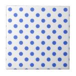 Polka Dots Large - Royal Blue on White Ceramic Tile
