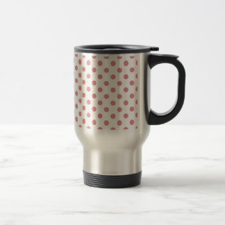 Polka Dots Large - Ruddy Pink on White 15 Oz Stainless Steel Travel Mug