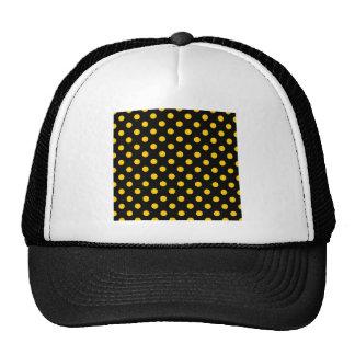 Polka Dots Large - Tangerine Yellow on Black Trucker Hat