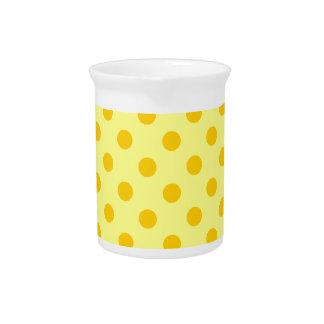 Polka Dots Large - Tangerine Yellow on Yellow Beverage Pitcher