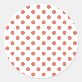Polka Dots Large - Terra Cotta on White Classic Round Sticker