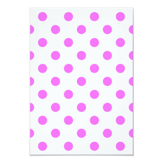 Polka Dots Large - Ultra Pink on White 3.5x5 Paper Invitation Card