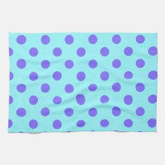 Polka Dots Large - Violet on Electric Blue Hand Towels