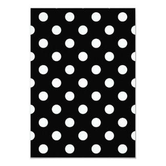 Polka Dots Large - White on Black 3.5x5 Paper Invitation Card
