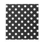 Polka Dots Large - White on Black Memo Notepad