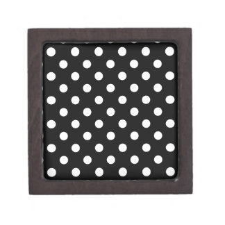 Polka Dots Large - White on Black Premium Keepsake Box