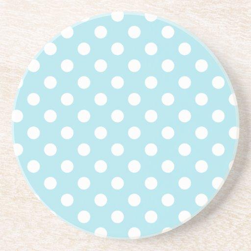 Polka Dots Large - White on Blizzard Blue Coasters