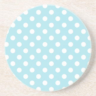 Polka Dots Large - White on Blizzard Blue Sandstone Coaster