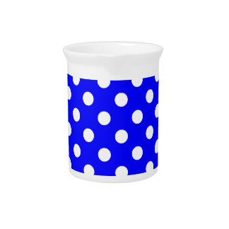 Polka Dots Large - White on Blue Beverage Pitcher