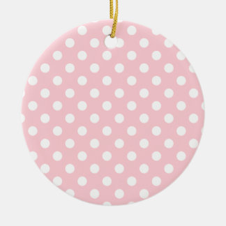 Polka Dots Large - White on Bubble Gum Double-Sided Ceramic Round Christmas Ornament