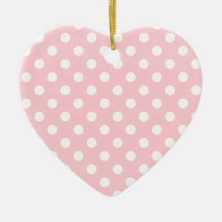 Polka Dots Large - White on Bubble Gum Double-Sided Heart Ceramic Christmas Ornament
