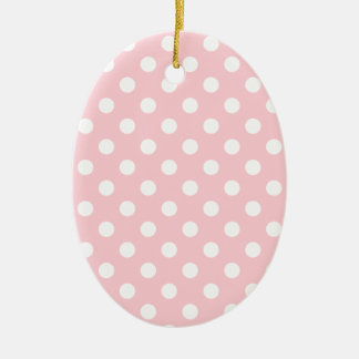 Polka Dots Large - White on Bubble Gum Double-Sided Oval Ceramic Christmas Ornament