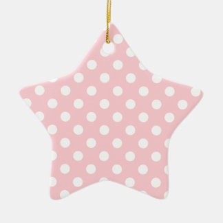 Polka Dots Large - White on Bubble Gum Double-Sided Star Ceramic Christmas Ornament