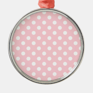 Polka Dots Large - White on Bubble Gum Round Metal Christmas Ornament