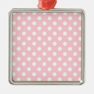 Polka Dots Large - White on Bubble Gum Square Metal Christmas Ornament