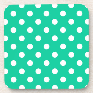 Polka Dots Large - White on Caribbean Green Drink Coaster