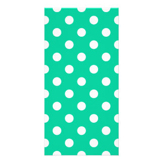 Polka Dots Large - White on Caribbean Green Photo Card
