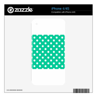Polka Dots Large - White on Caribbean Green Skin For The iPhone 4S
