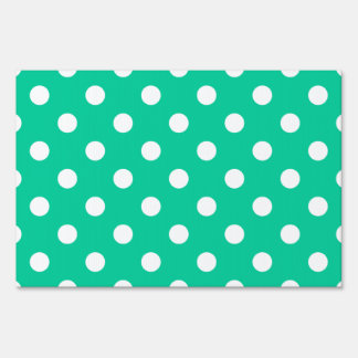 Polka Dots Large - White on Caribbean Green Lawn Sign