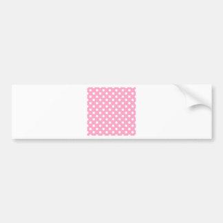 Polka Dots Large - White on Carnation Pink Bumper Sticker