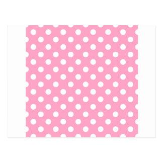 Polka Dots Large - White on Carnation Pink Postcard