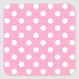 Polka Dots Large - White on Carnation Pink Square Stickers