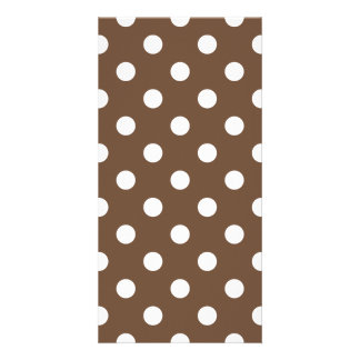 Polka Dots Large - White on Coffee Photo Card
