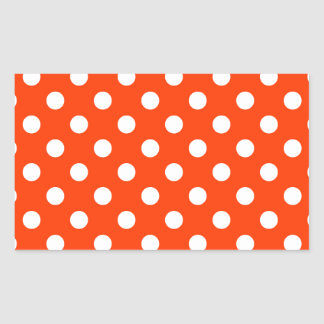 Polka Dots Large - White on Coquelicot Rectangular Sticker