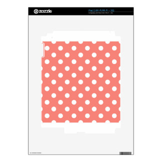 Polka Dots Large - White on Coral Pink Decals For The iPad 2