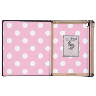 Polka Dots Large - White on Cotton Candy iPad Cases